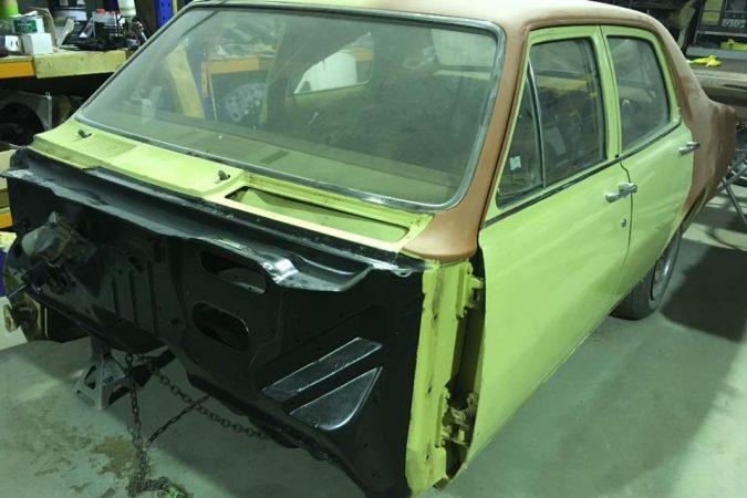 HT Holden sedan restoration work